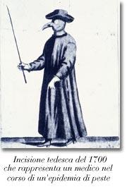 Incisione tedesca del 1700 che rappresenta un medico nel corso di una epidemia di peste